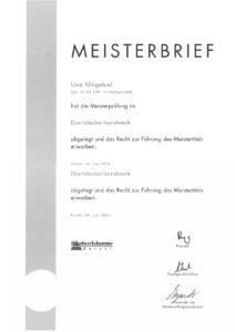 01 Meisterbrief_Uwe Klingebiel Dachdeckermeister
