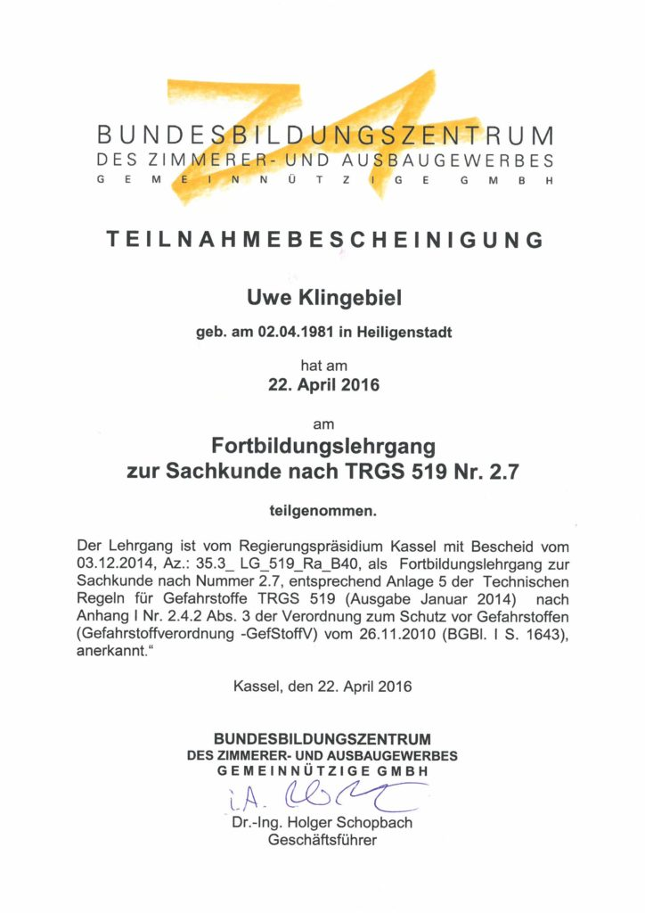 Asbest Fortbildung 2016 Klingebiel