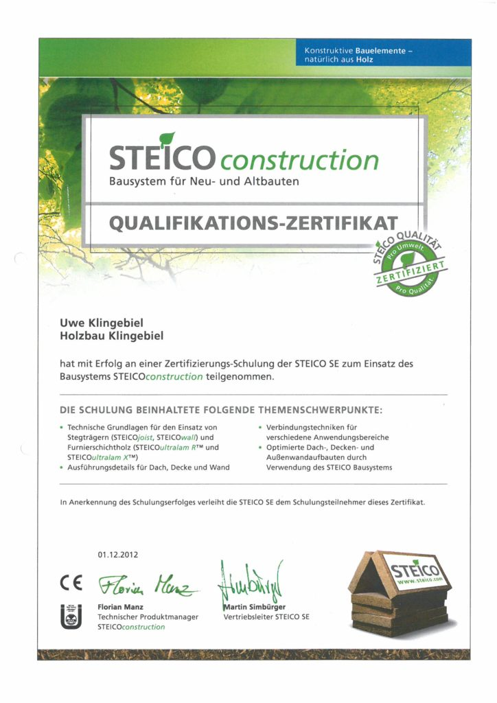 Steico2 Zertifikat Holzbau Klingebiel