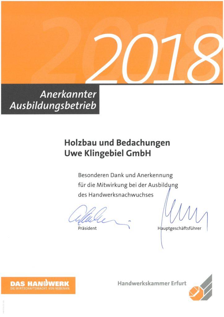 Ausbildungsbetrieb 2018 DAchdecker